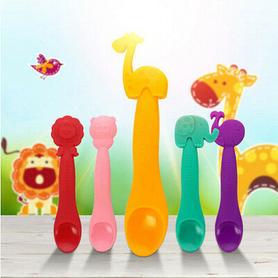 Cute Silicone Animal Sensing Thermal Feeding Spoon Baby Kids Weaning Tableware
