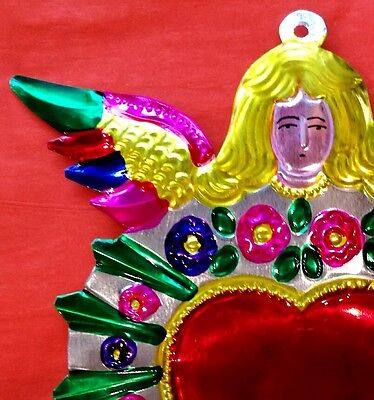 Angel with Milagro Heart Authentic Mexican Tin Folk Art  Handcut & Painted