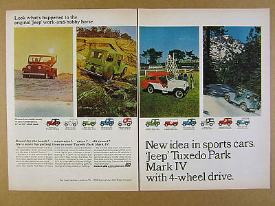 1964 Jeep Tuxedo Park Mark IV red green white blue color combos vintage print Ad
