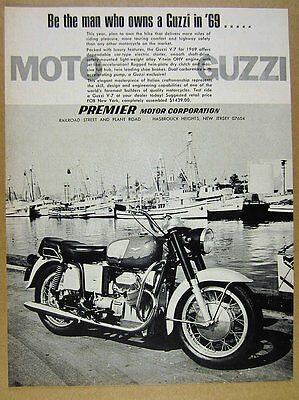 1969 Moto Guzzi V7 V-7 motorcycle photo vintage print Ad