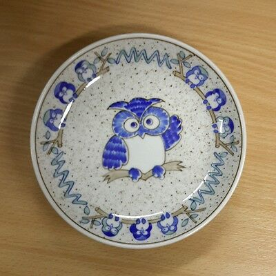 4 x Owl Plate Collector Blue Quality Japan Collectible Party Decorative