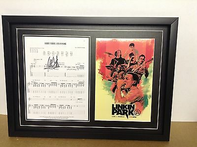 Linkin Park Hand Signed/Autographed Songsheet with a Poster and COA