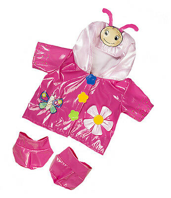 """Pink Butterfly Raincoat & Boots Outfit clothes to fit 15"""" build a bear plush ted"""