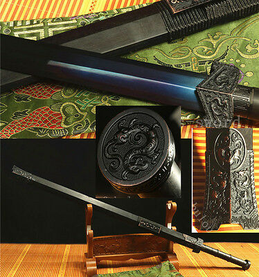 Rose Wood High Carbon Steel Blue Blade Chinese Dragon Han Sword
