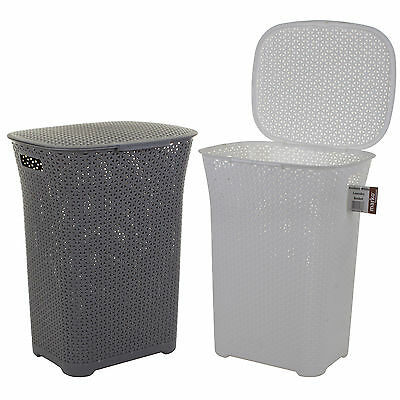 Plastic Laundry Basket Washing Clothes Bin Rattan Woven Style with Handles & Lid
