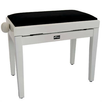 Tiger Adjustable Piano Stool Bench - High Gloss White - Clearance