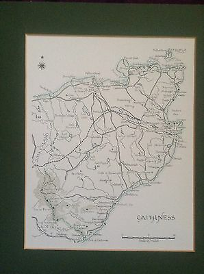 Vintage Printed Map Of Caithness Scotland. VGC.