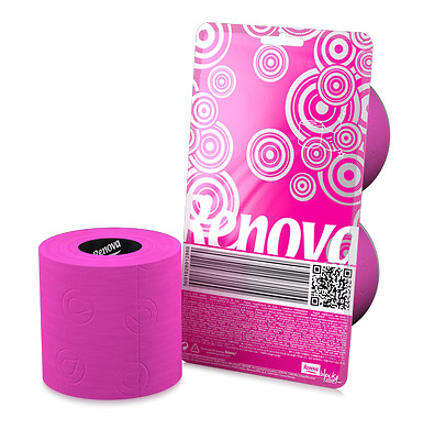 Renova Cristal Colored Toilet Paper 2 Roll Packs **NEW** Pink