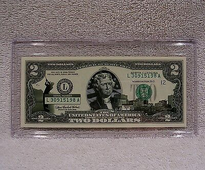 South Carolina  $2 Dollar Bill - Colorized State Landmark Uncirculated Authentic