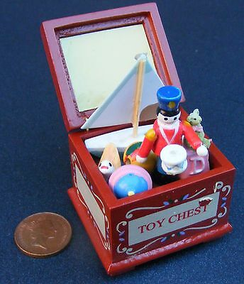 1:12th Scale Filled Wooden Toy Box Dolls House Miniature Nursery Chest Accessory