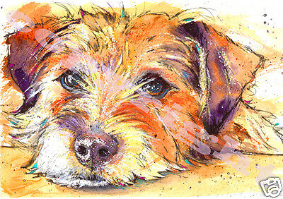 JACK RUSSELL Terrier Dog PRINT of Original Watercolour Art Watercolor by JOSIE P