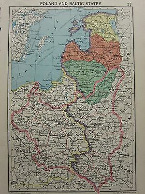 1942 Map ~ Poland & Baltic States Lithuania Latvia Estonia