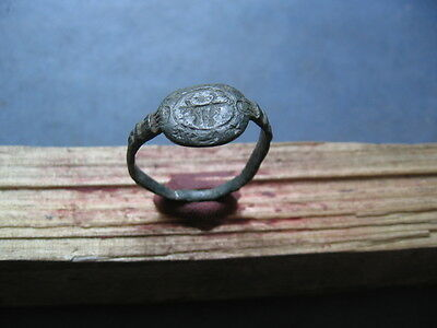 """""""bull With Star And Moon"""" Ancient Celtic Bronze Seal Mark Ring 300-100 B.c."""