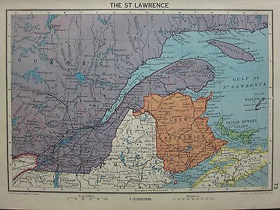 1942 Map ~ The St Lawrence New Brunswick Quebec ~ Prince Edward Island Canada