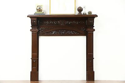 "Oak Architectural Salvage Victorian Antique Carved Fireplace Mantel 10 1/2"" Deep"