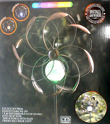 Solar Powered 2-in 1 Windmill & Solar Light bronze effect, Colour Changing