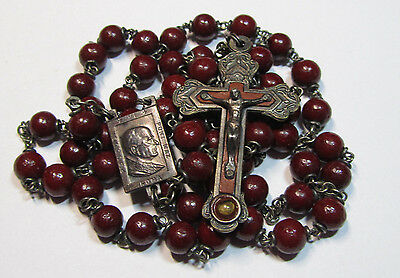 """† Vintage Relic Crucifix """"pope Paul Vi Pont Max"""" & Pressed Scented Rose Rosary †"""