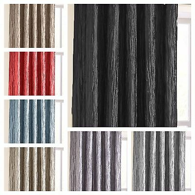 Chenille Textured Crinkle Pencil Pleat Tape Top Readymade Curtains + Tie-Backs