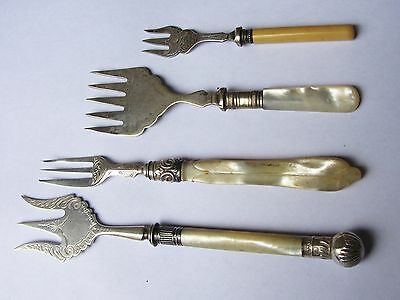 Collection of 4 Antique Silver Cake/Serving Forks - 2 Solid, 2 Plate