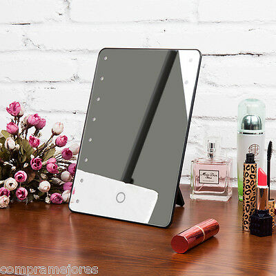 Portable Cosmetic Illuminated 16 LED Make Up Mirror Vanity Tabletop Touch Beauty