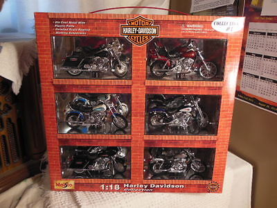 Maisto 1:18 scale Harley Davidson 1999-6 piece Motorcycle Collections # 1 265869