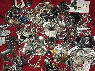 Large Vintage  Mixed Lot Earrings All Silver Tone,all Matched & Wearable