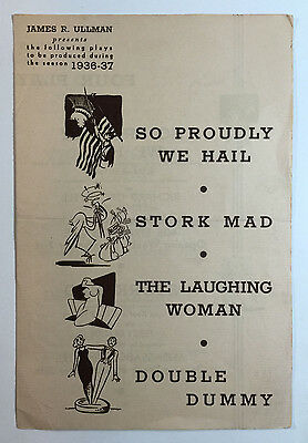 Vintage Theatre Brochure, James R. Ullman Four New Plays For Season 1936-37