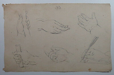 Antique Drawing Hand Study Academic 18th Century 1700s Graphite Watermark Paper