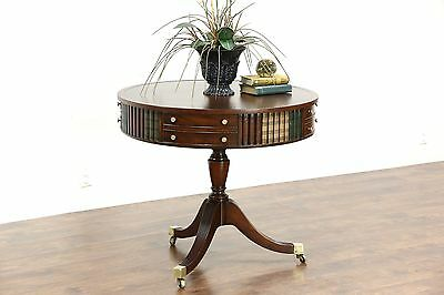 Round Drum or Vintage Revolving Hall Table, Leather Books & Top