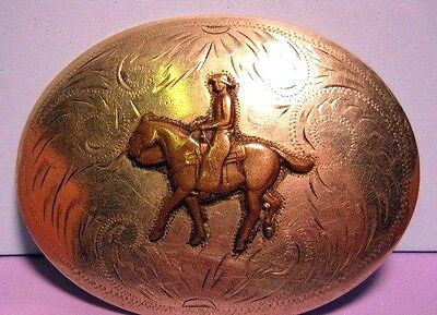 Beautiful & OLD COMSTOCK SILVERSMITHS Horse & Rider German Silver Belt Buckle