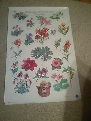 Vintage 80's Smokey the Bear wildflowers  USDA Forest Service Poster
