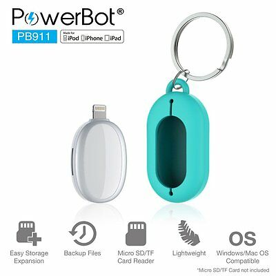POWERBOT PB911 Travel Lightening Flash Drive Adapter for Apple iPhone WHT/SLV