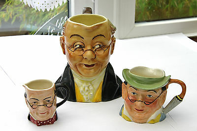 3 x Mr PICKWICK TOBY CHARACTER JUGS HANDPAINTED