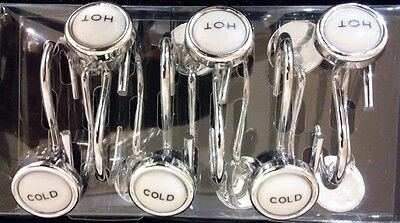 Hot and Cold Set Of 12 Metal Faucet Bathroom Shower Curtain Hooks Rare Design