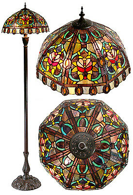 New Arrivals @Large Amazing Floral Leadlight Stained Glass Tiffany  Floor Lamp
