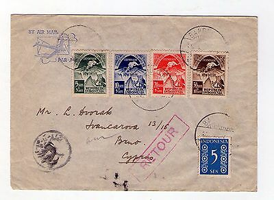 Cyprus / Indonesia 1951 cover sent to Cyprus in error and returned