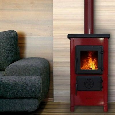 - JS Red Enamel 5.4kW Woodburning Stove - Free Delivery to UK Mainland -