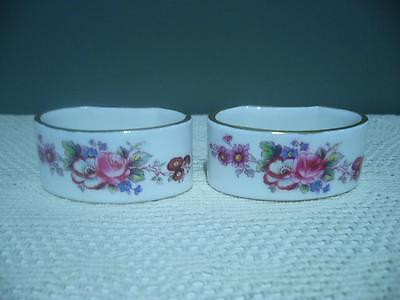 Royal Crown Derby Napkin Rings X 2 - England - Hand Painted Florals - Vg Cond