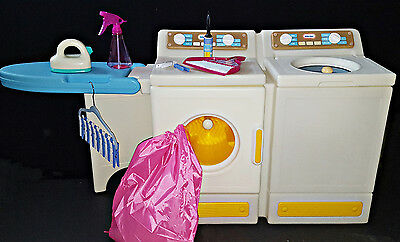 Vintage Little Tikes Tykes Washer Dryer Ironing Board Iron Playset Clean Extras