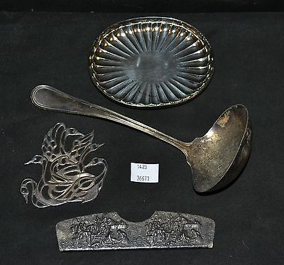 ThriftCHI ~ Silver Plate Group Lot - Soap Dish, Reed & Barton Ladle, Swans +
