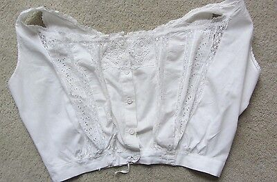 Vintage 1900's Camisole, Corset Cover, White Eyelet Lace