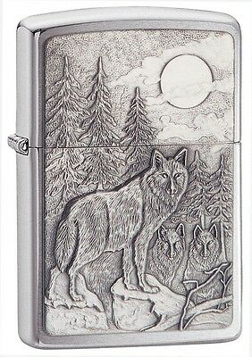 Zippo 20855, Timberwolves, Emblem, Brushed Chrome Finish Lighter, Full Size