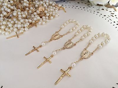 36 Mini Rosary Off White Baptism Favors /vINTAGE Gold Plated /Communion Favors