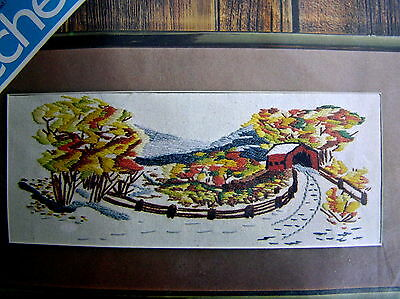 Spinnerin Crewel Stichery Kit Covered Bridge 6 X 15 1970's Farmhouse Country