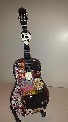 Miniature Guitar BEATLES Sergeant Peppers Acoustic  , stand, box and FREE PICK!