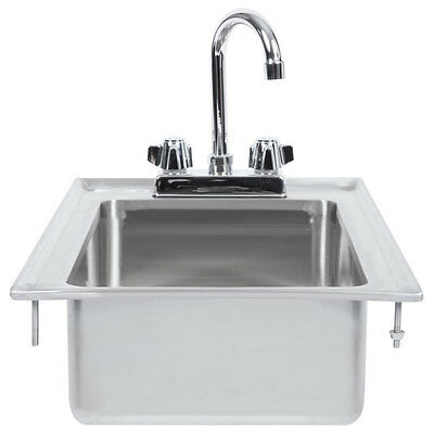 """10"""" x 14"""" x 5"""" 16-Gauge Stainless Steel One Compartment Drop-In Sink w Faucet"""