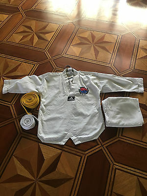 taekwondo uniform size 140 cm top and pants with white&yellow belts clean used c