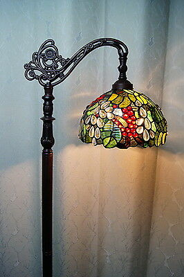2016 new arrivals@Gorgeous Grape Stained Glass Bridge Arm Tiffany Floor Lamp