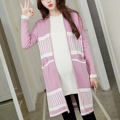 New Pregnant Women Knit Tops Fashion Maternity Long Sleeve Cardigan Outerwear