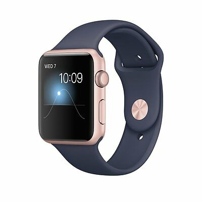 NEW Apple Watch Series 1 42mm Rose Gold Aluminum Case Midnight Blue Sport Band